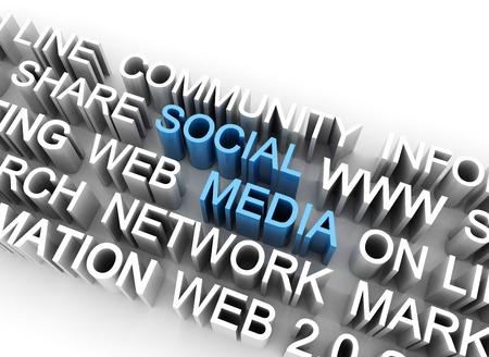 Social media illustration 3d text illustration