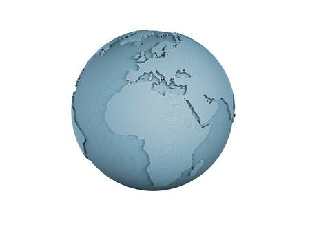 Wire frame world globe isolated on white  photo