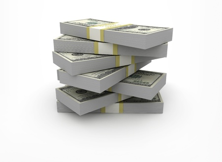 dinero: Pila de dinero sobre fondo blanco
