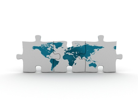globe puzzle: Global community concept  Stock Photo