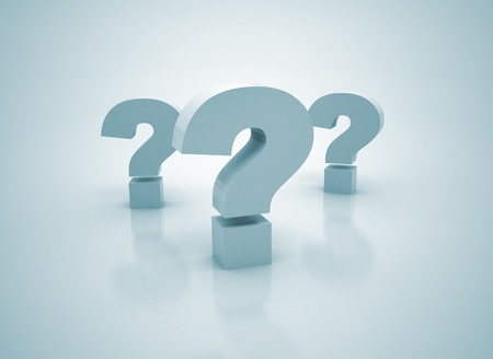 frequently asked question: three question center focus  Stock Photo