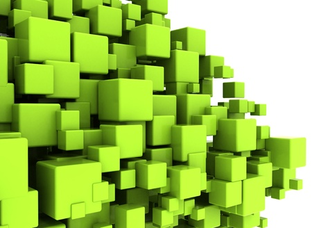 green and black: Green cubes abstract background