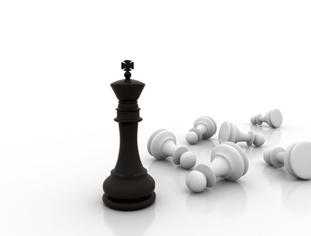 successful strategy: Chess king standing - game over