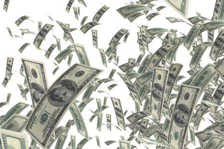 dinero volando: aislado en blanco - dinero de billetes de 100 dólares  Foto de archivo
