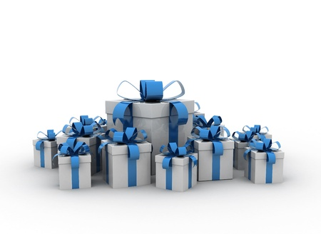 gift boxes over white background 3d render