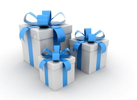 Boîtes-cadeaux sur fond blanc de rendu 3d