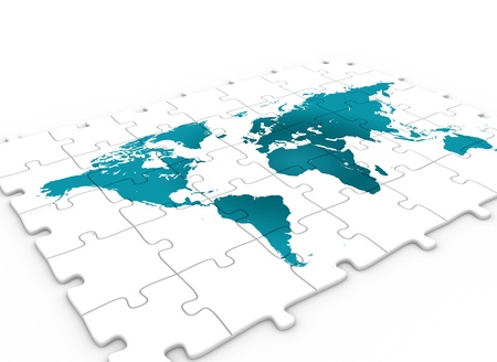 Puzzlw with world map  Stock Photo
