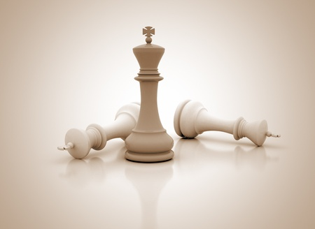 chess board: Chess king standing - game over