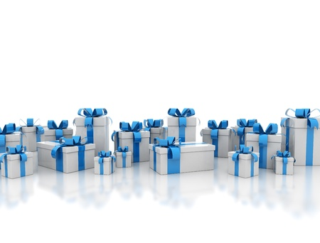 Gift boxes with blue ribbon on white background