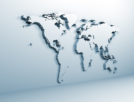 World map on wall Stock Photo