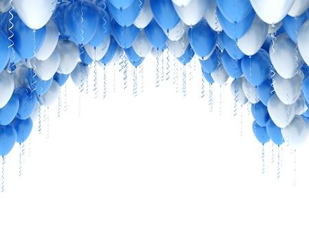 パーティー風船背景の青と白 写真素材