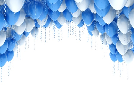 party balloons: Party balloons background blue and white