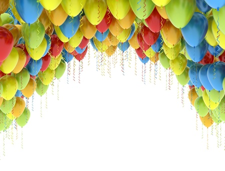 Ballons de fête fond coloré Banque d'images