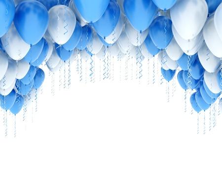 Ballonnen blauw en wit Stockfoto