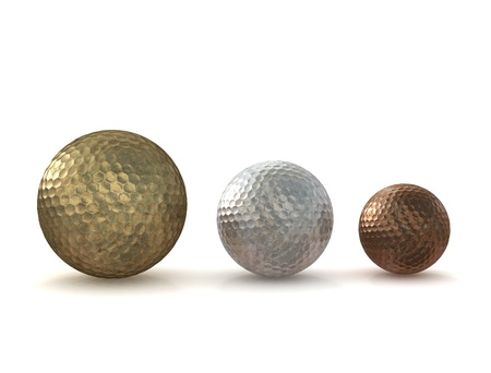 Golf balls - gold silver bronze photo