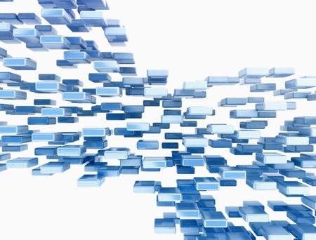 objetos cuadrados: Resumen cubos azules sobre fondo blanco Foto de archivo