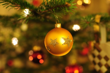 christmas background with baubles and christmas tree  photo