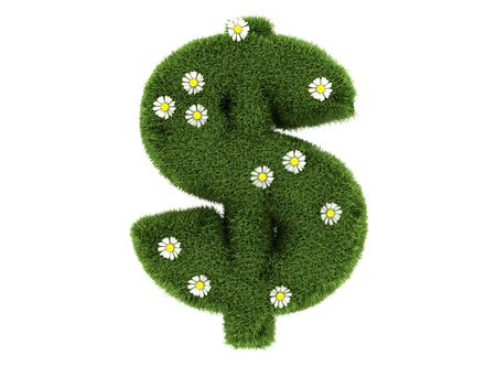 Green grass dollar sign 3d  photo