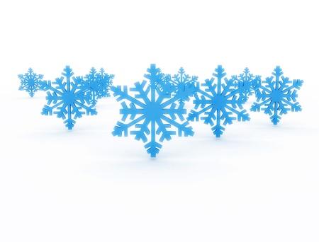 Blue 3d snowflakes Stock Photo