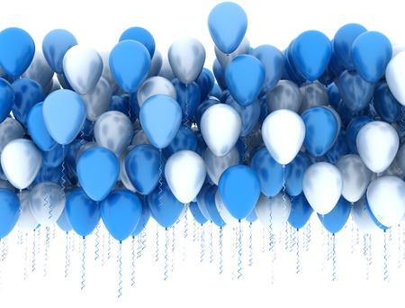 Blauwe en witte ballonnen Stockfoto