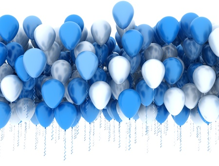 aniversario: Globos azules y blancos