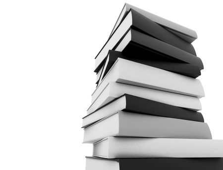 Books black and white stacked against white background photo