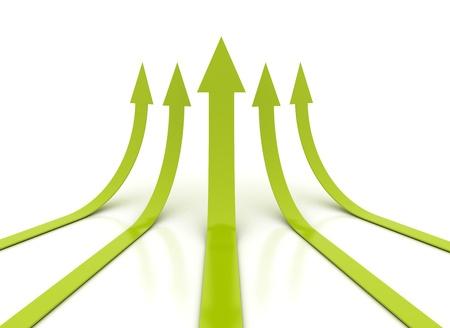 upward graph: Green arrows