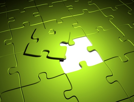 complete: Green puzzle  Stock Photo