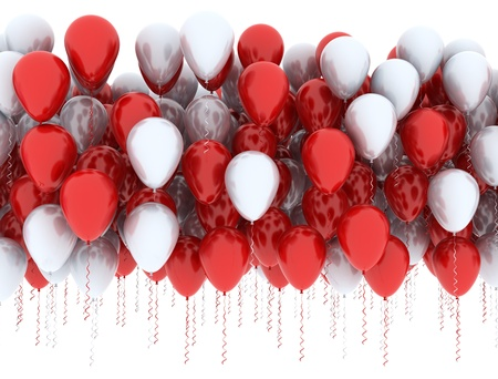 Red and white balloons in a row