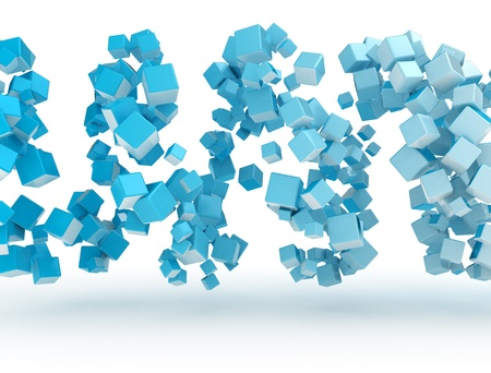 Abstract blue 3d metal cubes  photo