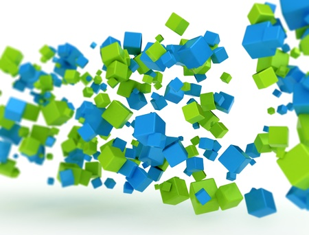 Abstract blue and green cubes  photo