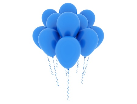 Group of blue balloons isolated on white background  photo