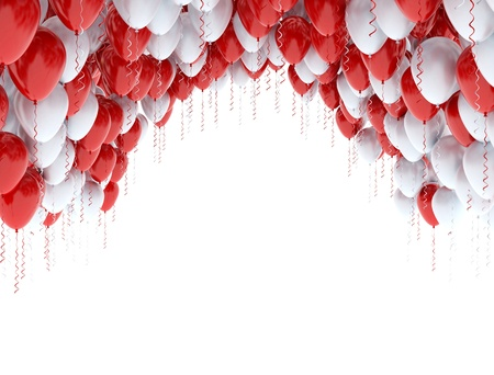 levitacion: Celebraci�n de fondo con globos rojos y blancos aislados en blanco Foto de archivo