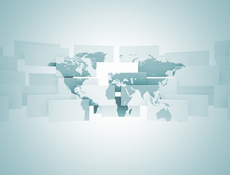 World map on 3d squares