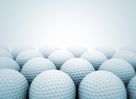 golf equipment: Group of golf balls close up Stock Photo