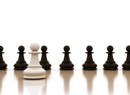 winning first: Leadership conceptual image with chess pawns