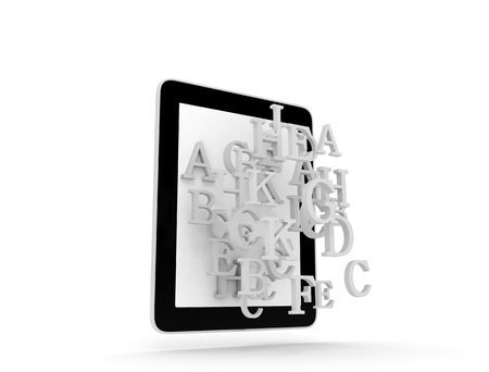 Tablet pc and 3d letters flying out photo