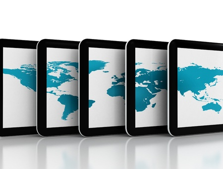 Tablet pc and world map  photo