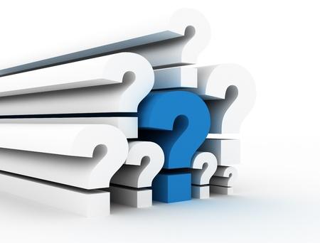 signo de pregunta: Signos de interrogaci�n azul sola Foto de archivo