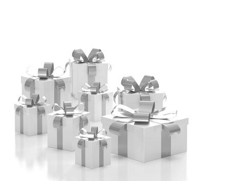 silver ribbon: Gift boxes silver ribbon