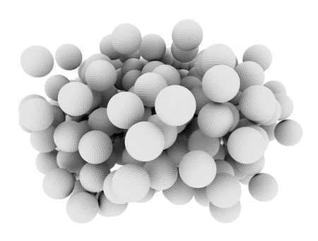 abstractions: golf balls isolated on white
