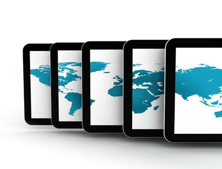 Tablet pc�s and world map photo
