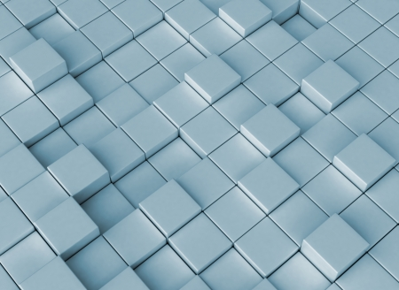 Abstract blue 3d cubes photo