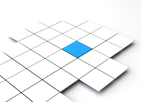 white cubes with a single blue - business concept photo