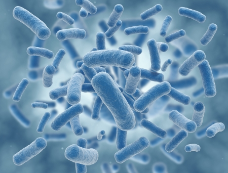 Blue virus cells high resolution science illustration Standard-Bild