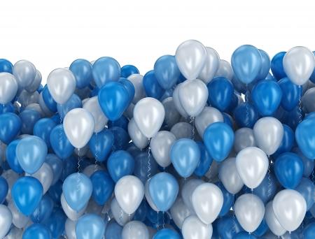Grote groep van blauwe en witte ballonnen