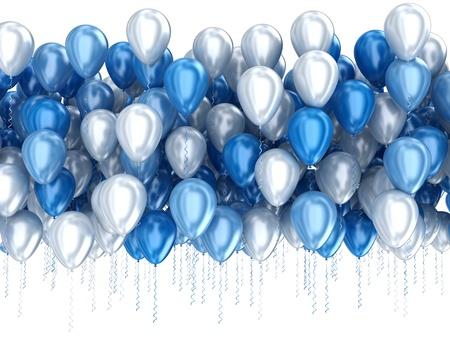 Blaue Luftballons isoliert auf weißem Hintergrund