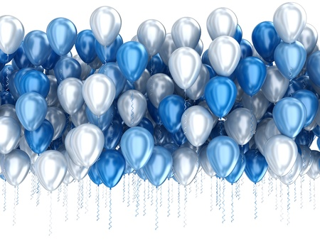 Blue balloons isolated on white background photo