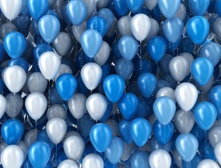 Blaue und weiße Luftballons Hintergrund