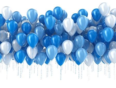 Blaue Luftballons isoliert Standard-Bild